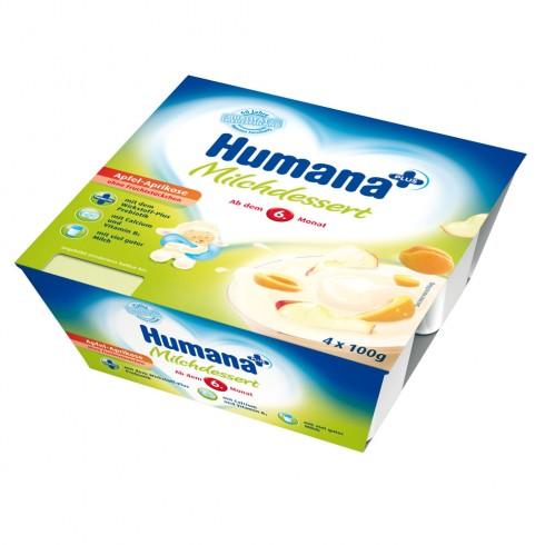 Iaurt Humana cu gust de mere si caise de la 6 luni 4x100 g