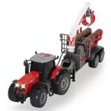 Tractor Dickie Toys Massey Ferguson MF 8737 cu remorca