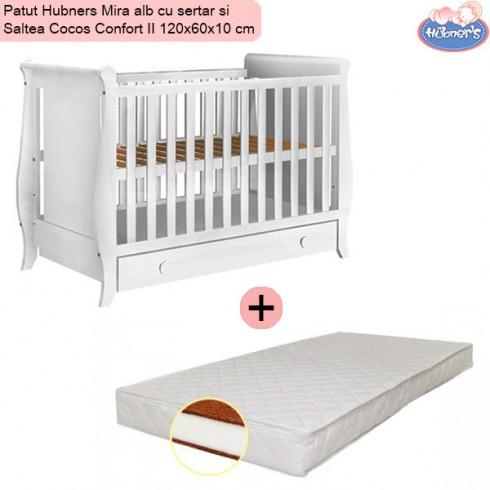 Pachet Patut Hubners Mira alb cu sertar si Saltea Cocos Confort II 120x60x10 cm