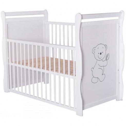 Patut copii din lemn Babyneeds Jas Ursulet 120x60 cm alb cu laterala culisabila