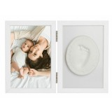 Kit rama foto cu amprenta Baby HandPrint Tiny Memories white