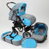 Carucior Baby Merc Junior Plus 3 in 1 Light grey turqoise