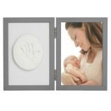 Kit rama foto cu amprenta Baby HandPrint Tiny Memories grey