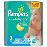 Scutece Pampers active baby-dry 3 midi giant pack 90 buc pentru 4-9 kg
