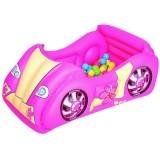 Loc de joaca gonflabil Bestway Masinuta de curse cu 50 bile roz