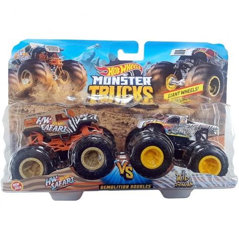 Set Hot Wheels by Mattel Monster Trucks Demolition Doubles HW Safari vs Wild Streak {WWWWWproduct_manufacturerWWWWW}ZZZZZ]