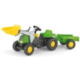 Tractor cu pedale si remorca Rolly Toys 023134 verde