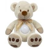 Jucarie din plus Baby Mix Cream Bear cu sunete si lumini