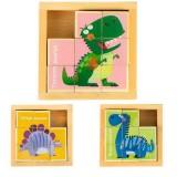 Cuburi din lemn Ecotoys MA442 puzzle dinozauri