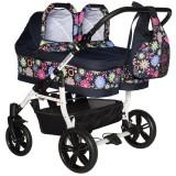 Carucior gemeni PJ Baby 2 in 1 PJ Stroller pink flowers
