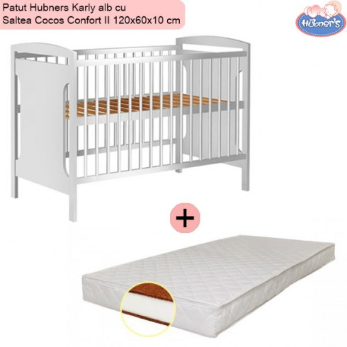 Pachet Patut Hubners Karly alb cu Saltea Cocos Confort II 120x60x10 cm