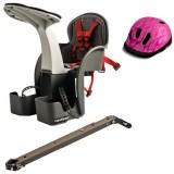 Set Scaun de bicicleta si Casca protectie WeeRide Flames roz