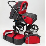 Carucior Baby Merc Junior Plus 2 in 1 Charchoal grey red