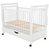 Patut copii din lemn Babyneeds Jas 120x60 cm alb cu sertar