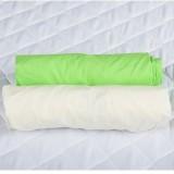Set 2 x Cearsaf BabyNeeds cu elastic 140x70 cm Verde si Alb