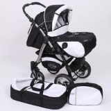 Carucior Baby Merc Junior Plus 2 in 1 Black white