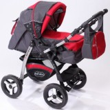 Carucior Baby Merc Junior 2 in 1 charchoal grey red