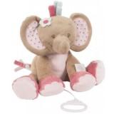 Jucarie muzicala plus Nattou Elefantelul Rose 25 cm