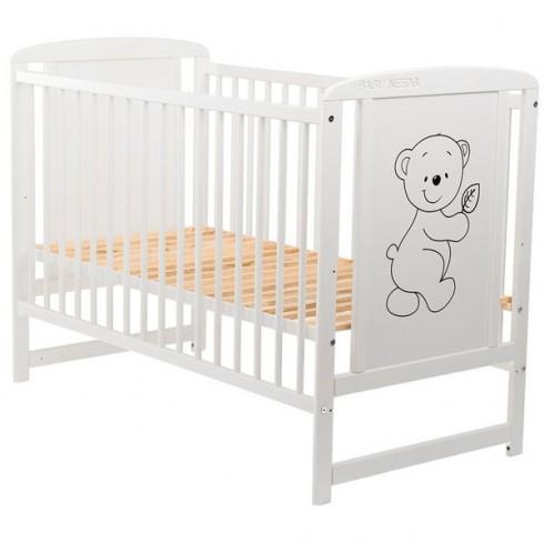 Patut copii din lemn Babyneeds Timmi 120x60 cm alb