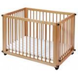Pachet Patut Easy Baby Sleep & Play natur si Saltea cu cearsaf
