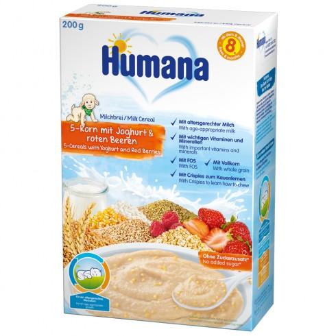 Cereale Humana cu 5 cereale, fructe si iaurt de la 8 luni 200 g