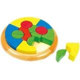 Puzzle Circular Bino cu Forme Geometrice din Lemn