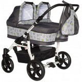 Carucior Pj Baby Pj Stroller Twins 3 in 1 grey