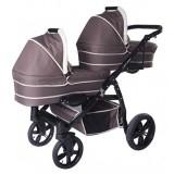 Carucior gemeni PJ Baby PJ Stroller Lux 3 in 1 brown