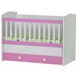 Patut copii din lemn Ilbambino Kalina white pink cu sertar
