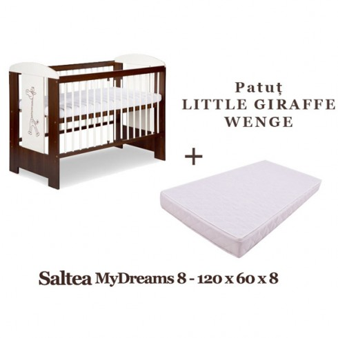 Patut Klups Little Giraffe wenge si Saltea MyDreams 120x60x8 cm