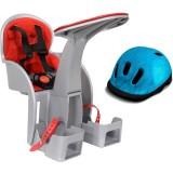 Scaun de bicicleta WeeRide SafeFront Clasic si Casca protectie Flames albastru