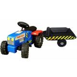 Tractor Super Plastic Toys Hard Truck cu remorca blue