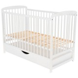 Patut copii din lemn Babyneeds Ola 120x60 cm alb cu sertar