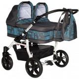 Carucior Pj Baby Pj Stroller Twins 3 in 1 blue