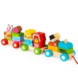 Trenulet Ecotoys 2036 cu sfoara si blocuri din lemn