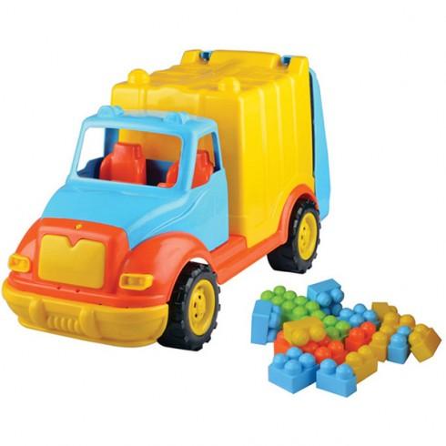 Masinuta Ucar Toys Camion gunoi cu 38 piese constructie 48 cm