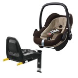 Pachet Scaun auto Maxi Cosi Pebble Plus I-Size earth brown cu baza auto 2wayFix