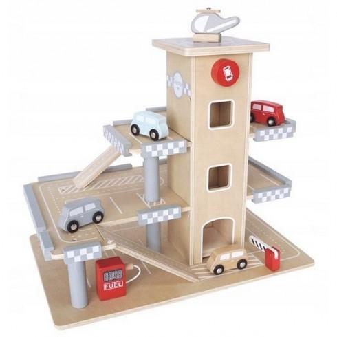 Parcare din lemn Ecotoys CA12104 cu etaje si lift