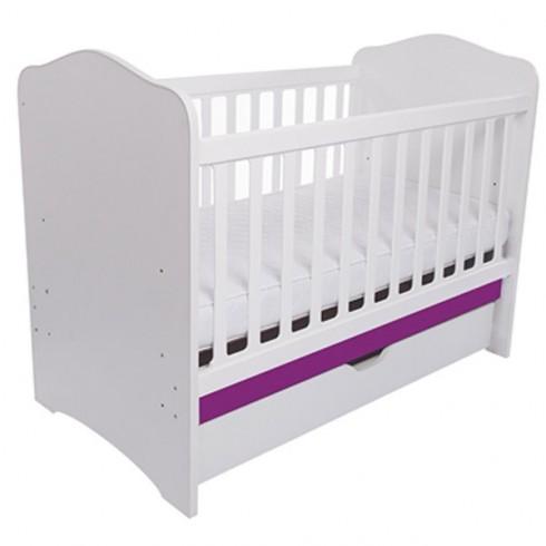 Patut copii din lemn Eurogloria Como alb cu violet cu sertar