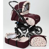 Carucior Baby Merc Junior Plus 2 in 1 Dark red flowers
