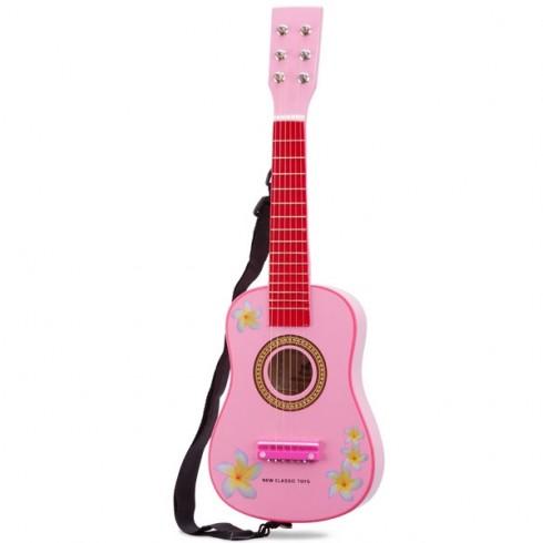 Chitara din lemn New Classic Toys roz cu flori