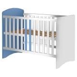 Resigilat: Patut copii din lemn Hubners Anne 120x60 cm alb-albastru