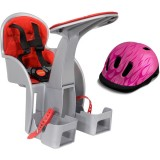 Scaun de bicicleta WeeRide SafeFront Clasic si Casca protectie Flames roz