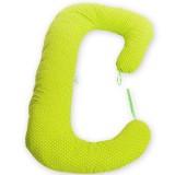 Perna de alaptat BabyNeeds Soft Plus 3 in 1 bulinute mici alb cu verde
