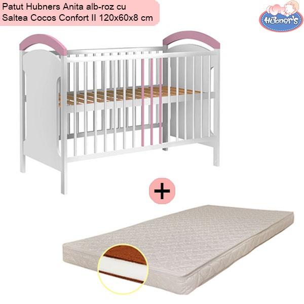 Pachet Patut Hubners Anita alb-roz cu Saltea Cocos Confort II 120x60x8 cm