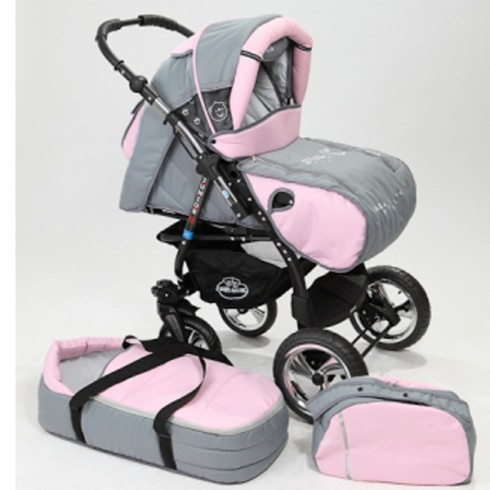 Carucior Baby Merc Junior Plus 2 in 1 Light grey pink