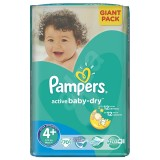 Scutece Pampers active baby-dry 4+ maxi plus giant pack 70 buc pentru 9-16 kg