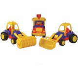Set masinute Ucar Toys Autobasculanta Buldozer si Tractor compactor