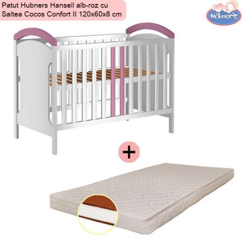 Pachet Patut Hubners Hansell alb-roz cu Saltea Cocos Confort II 120x60x8 cm