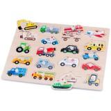 Puzzle din lemn New Classic Toys Vehicule
